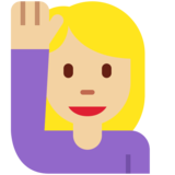 Woman Raising Hand: Medium-Light Skin Tone on Twitter Twemoji 12.1.6