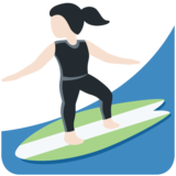 Woman Surfing: Light Skin Tone on Twitter Twemoji 12.1.6