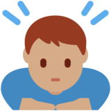 Man Bowing: Medium Skin Tone on Twitter Twemoji 13.0