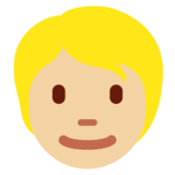 Person: Medium-Light Skin Tone, Blond Hair on Twitter Twemoji 13.0