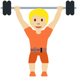Person Lifting Weights: Medium-Light Skin Tone on Twitter Twemoji 13.0