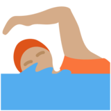 Person Swimming: Medium Skin Tone on Twitter Twemoji 13.0