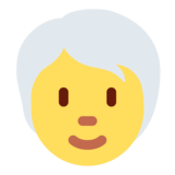 Person: White Hair on Twitter Twemoji 13.0
