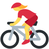 Woman Biking on Twitter Twemoji 13.0