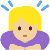 Woman Bowing: Medium-Light Skin Tone on Twitter Twemoji 13.0