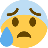 Anxious Face with Sweat on Twitter Twemoji 13.0.1