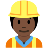 Construction Worker: Dark Skin Tone on Twitter Twemoji 13.0.1