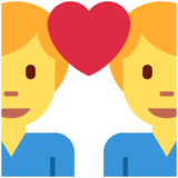 Couple with Heart: Man, Man on Twitter Twemoji 13.0.1