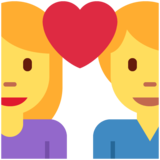 Couple with Heart: Woman, Man on Twitter Twemoji 13.0.1