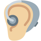 Ear with Hearing Aid: Medium-Light Skin Tone on Twitter Twemoji 13.0.1