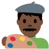 Man Artist: Dark Skin Tone on Twitter Twemoji 13.0.1