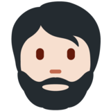 Person: Light Skin Tone, Beard on Twitter Twemoji 13.0.1