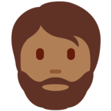 Person: Medium-Dark Skin Tone, Beard on Twitter Twemoji 13.0.1