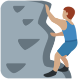 Man Climbing: Medium Skin Tone on Twitter Twemoji 13.0.1