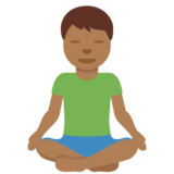 Man in Lotus Position: Medium-Dark Skin Tone on Twitter Twemoji 13.0.1