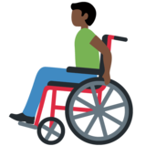 Man in Manual Wheelchair: Dark Skin Tone on Twitter Twemoji 13.0.1