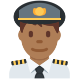 Man Pilot: Medium-Dark Skin Tone on Twitter Twemoji 13.0.1