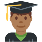 Man Student: Medium-Dark Skin Tone on Twitter Twemoji 13.0.1
