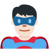 Man Superhero: Light Skin Tone on Twitter Twemoji 13.0.1