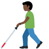 Man with White Cane: Dark Skin Tone on Twitter Twemoji 13.0.1