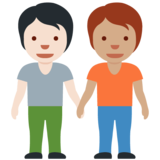People Holding Hands: Light Skin Tone, Medium Skin Tone on Twitter Twemoji 13.0.1