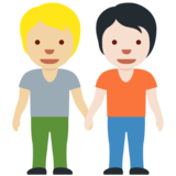 People Holding Hands: Medium-Light Skin Tone, Light Skin Tone on Twitter Twemoji 13.0.1