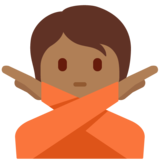 Person Gesturing No: Medium-Dark Skin Tone on Twitter Twemoji 13.0.1