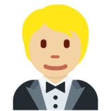 Person in Tuxedo: Medium-Light Skin Tone on Twitter Twemoji 13.0.1