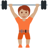 Person Lifting Weights: Medium Skin Tone on Twitter Twemoji 13.0.1