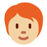 Person: Medium-Light Skin Tone, Red Hair on Twitter Twemoji 13.0.1
