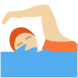 Person Swimming: Medium-Light Skin Tone on Twitter Twemoji 13.0.1
