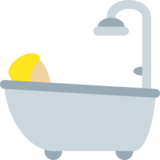 Person Taking Bath: Medium-Light Skin Tone on Twitter Twemoji 13.0.1