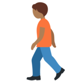 Person Walking: Medium-Dark Skin Tone on Twitter Twemoji 13.0.1