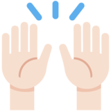 Raising Hands: Light Skin Tone on Twitter Twemoji 13.0.1