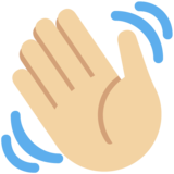 Waving Hand: Medium-Light Skin Tone on Twitter Twemoji 13.0.1