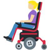 Woman in Motorized Wheelchair: Medium-Light Skin Tone on Twitter Twemoji 13.0.1