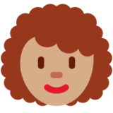 Woman: Medium Skin Tone, Curly Hair on Twitter Twemoji 13.0.1