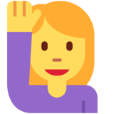 Woman Raising Hand on Twitter Twemoji 13.0.1