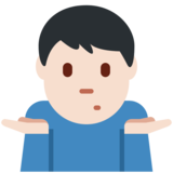 Man Shrugging: Light Skin Tone on Twitter Twemoji 13.0.2