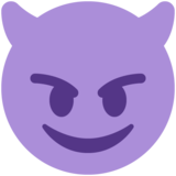 Smiling Face with Horns on Twitter Twemoji 13.0.2