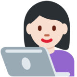 Woman Technologist: Light Skin Tone on Twitter Twemoji 13.0.2