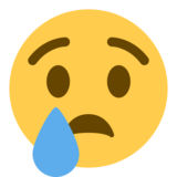Crying Face on Twitter Twemoji 1.0