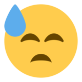 Downcast Face with Sweat on Twitter Twemoji 1.0