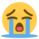 Loudly Crying Face on Twitter Twemoji 1.0