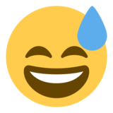 Grinning Face With Sweat on Twitter Twemoji 1.0