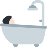 Person Taking Bath: Light Skin Tone on Twitter Twemoji 2.0