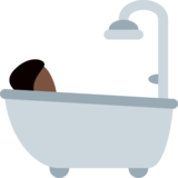 Person Taking Bath: Dark Skin Tone on Twitter Twemoji 2.0