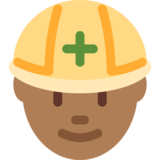 Construction Worker: Medium-Dark Skin Tone on Twitter Twemoji 2.0