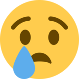 Crying Face on Twitter Twemoji 2.0