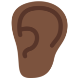 Ear: Dark Skin Tone on Twitter Twemoji 2.0